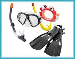 Маски, трубки, ласты, очки, шапочки Intex и Bestway